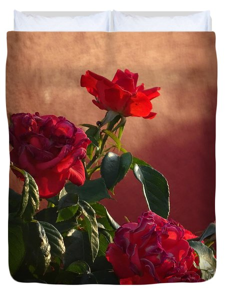 Duvet Cover featuring the photograph Red Brick  Leaf Green by Brian Boyle