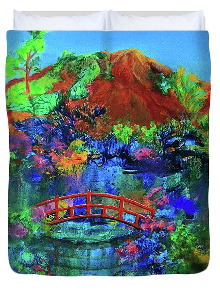 Duvet Cover featuring the painting Red Bridge Dreamscape by Jeanette French