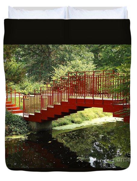 Red Bridge  Duvet Cover by Erick Schmidt