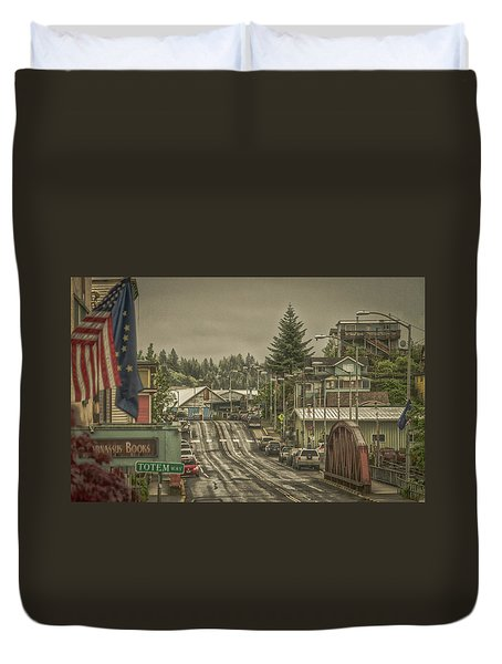 Red Bridge Haze Duvet Cover