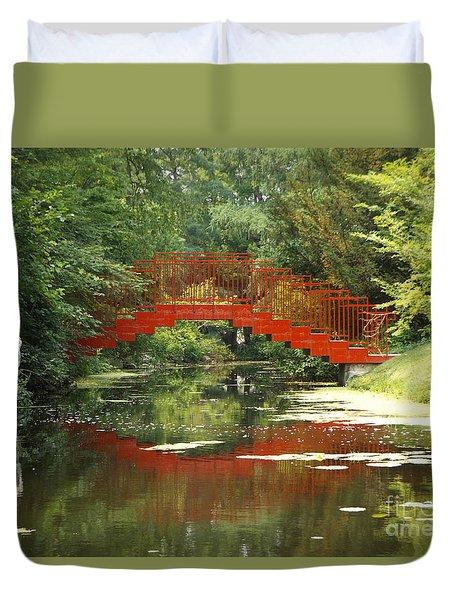 Red Bridge Reflection Duvet Cover by Erick Schmidt