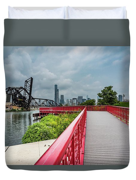 Red Bridge To Chicago Duvet Cover