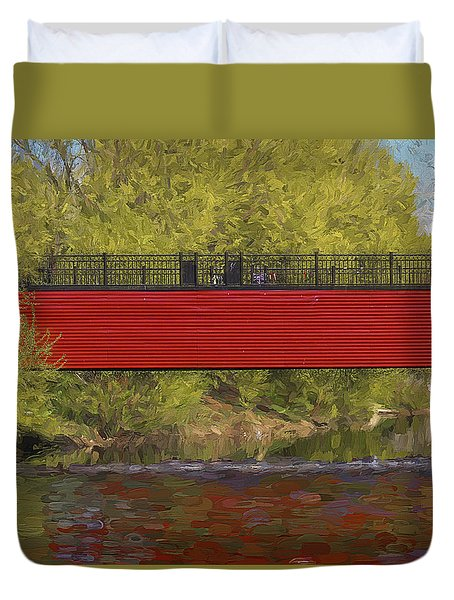 Red Bridge Duvet Cover