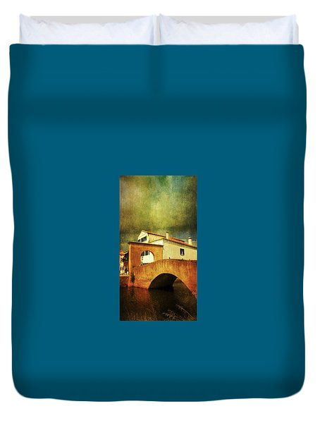 Duvet Cover featuring the photograph Red Bridge With Storm Cloud by Anne Kotan
