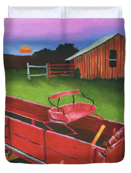 Red Buckboard Wagon Duvet Cover by Stephen Anderson