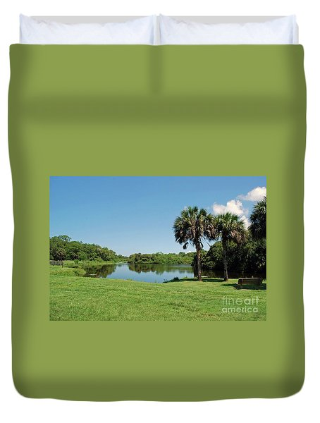 Duvet Cover featuring the photograph Red Bug Slough by Gary Wonning