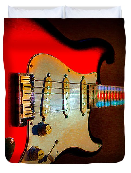 Red Burst Stratocaster Glow Neck Series Duvet Cover