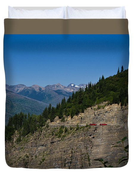 Red Buses, Glacier National Park Duvet Cover