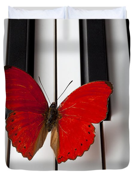 Red Butterfly On Piano Keys Duvet Cover