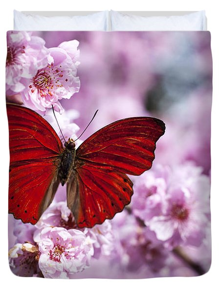 Red Butterfly On Plum  Blossom Branch Duvet Cover