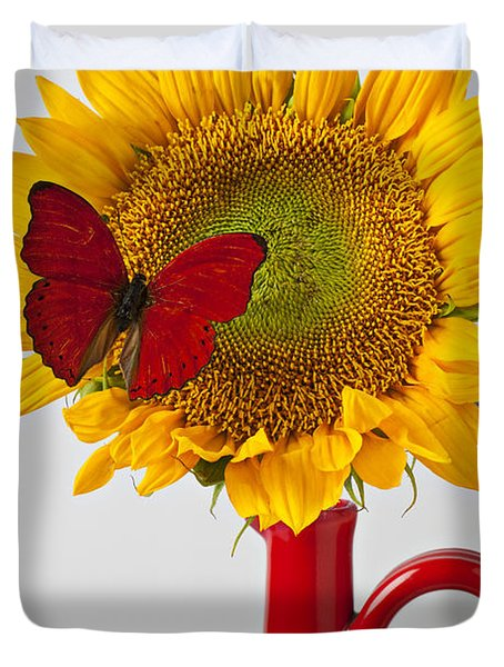 Red Butterfly On Sunflower On Red Pitcher Duvet Cover