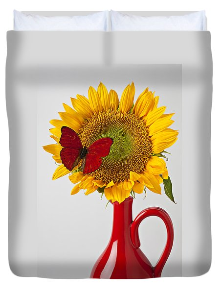 Red Butterfly On Sunflower On Red Pitcher Duvet Cover by Garry Gay