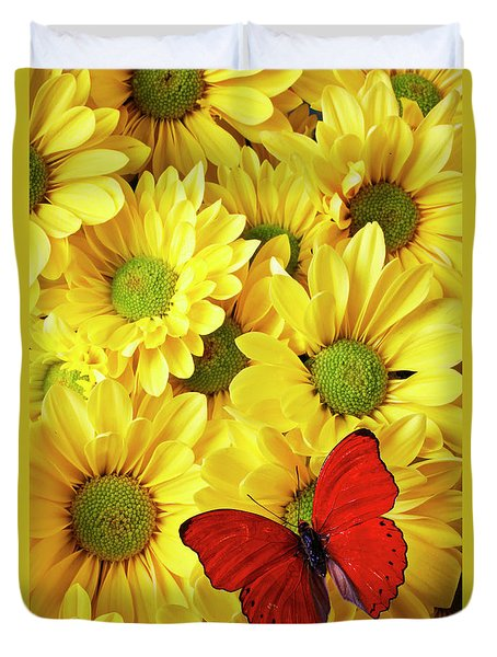 Red Butterfly On Yellow Mums Duvet Cover by Garry Gay