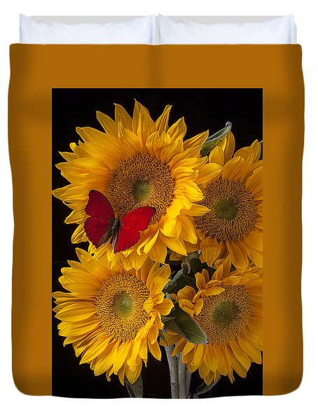 Red Butterfly With Four Sunflowers Duvet Cover by Garry Gay