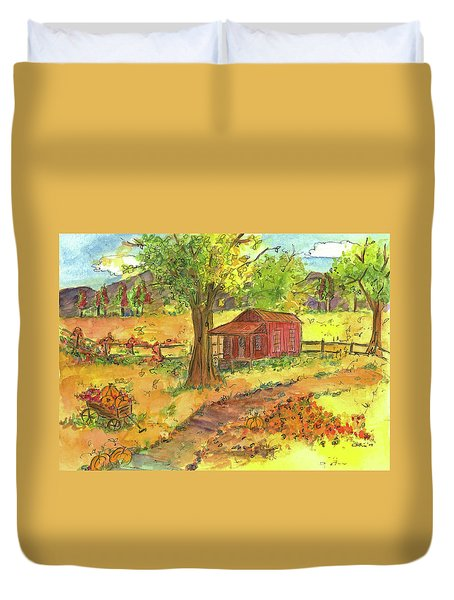 Duvet Cover featuring the painting Red Cabin In Autumn  by Cathie Richardson