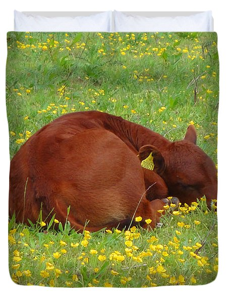 Red Calf In The Buttercup Meadow Duvet Cover