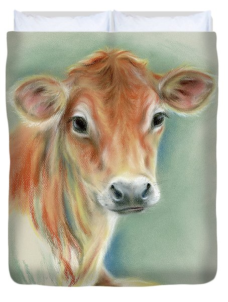 Red Calf Portrait Duvet Cover