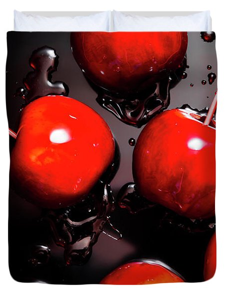 Red Candy Apples Or Apple Taffy Duvet Cover