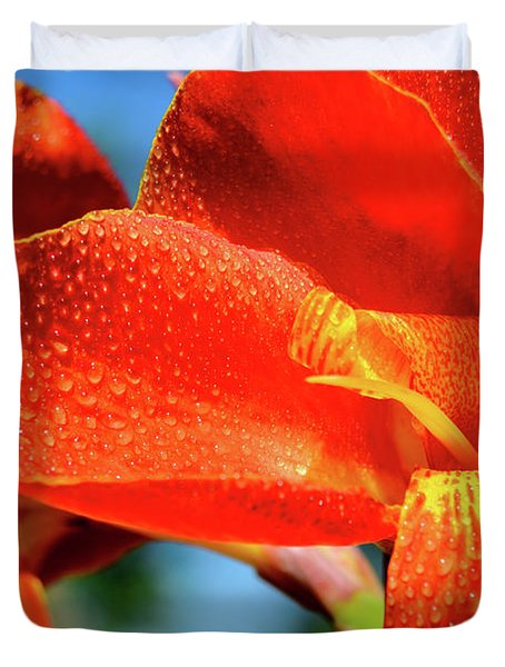 Red Canna With Yellow Accents Duvet Cover