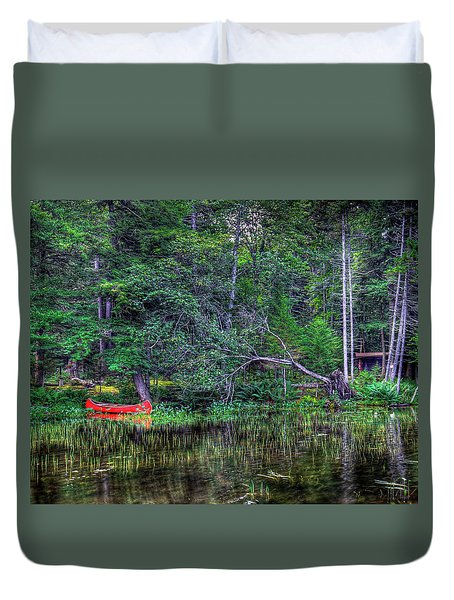 Duvet Cover featuring the photograph Red Canoe Among The Reeds by David Patterson