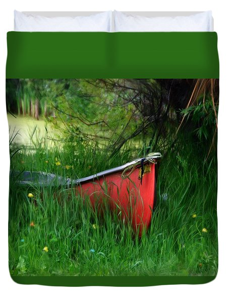 Red Canoe Duvet Cover