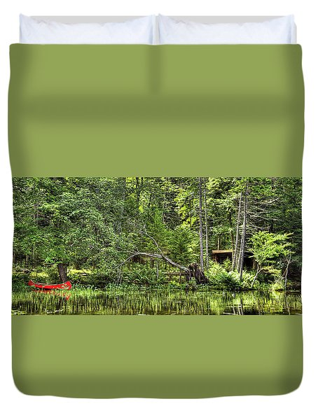 Duvet Cover featuring the photograph Red Canoe Panorama by David Patterson