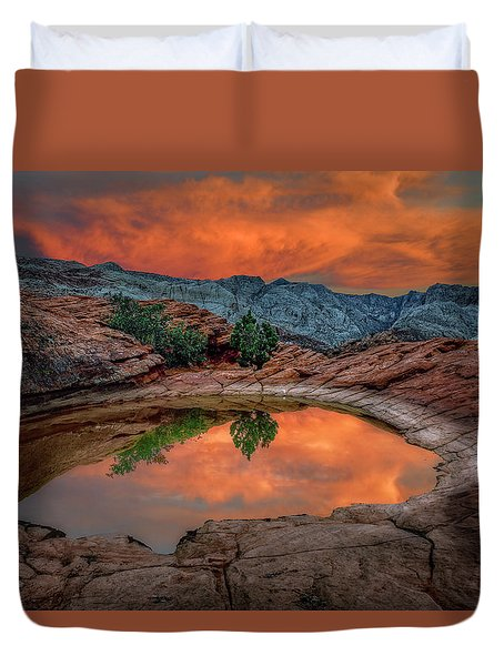 Red Canyon Reflection Duvet Cover