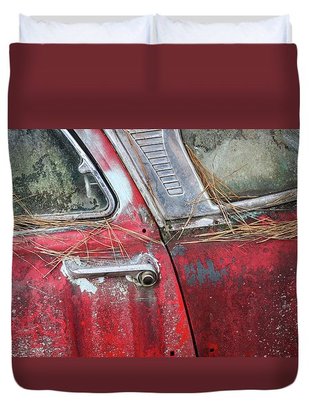 Duvet Cover featuring the photograph Red Car Door Handle by Patrice Zinck