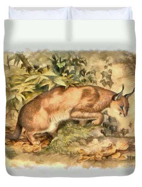 Red Caracal Duvet Cover