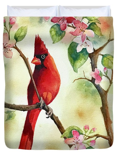 Red Cardinal And Blossoms Duvet Cover