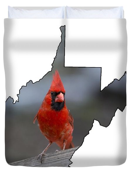Red Cardinal Looking For Food Duvet Cover
