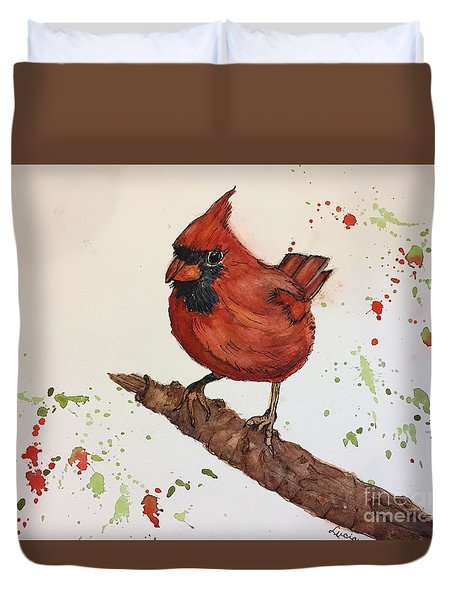 Duvet Cover featuring the painting Red Cardinal by Lucia Grilletto