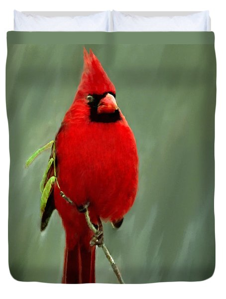 Red Cardinal Painting Duvet Cover