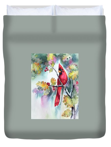 Red Cardinal With Berries Duvet Cover