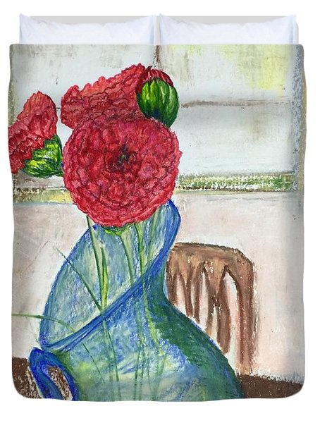 Red Carnations Duvet Cover