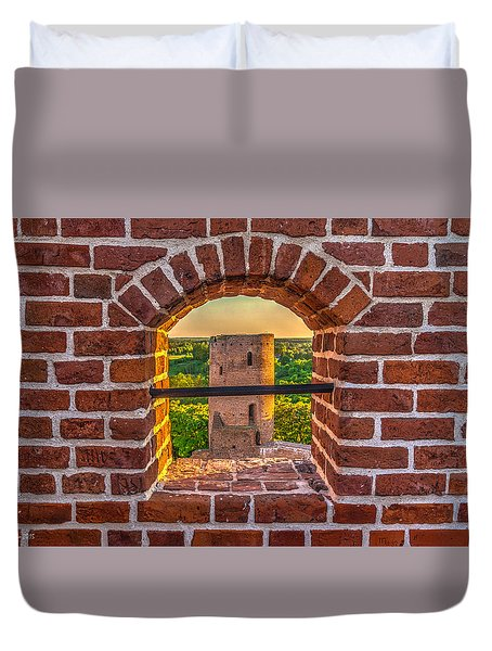 Red Castle Window View Duvet Cover