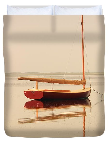 Red Catboat On Misty Harbor Duvet Cover