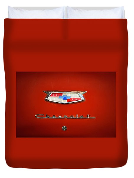 Duvet Cover featuring the photograph Red Chevy Bel-air Trunk by Marilyn Hunt