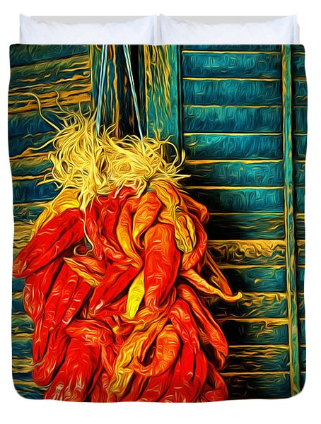 Red Chilis  ... Duvet Cover by Chuck Caramella