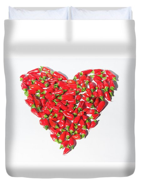Red Chillie Heart II Duvet Cover