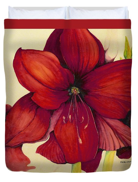 Red Christmas Amaryllis Duvet Cover