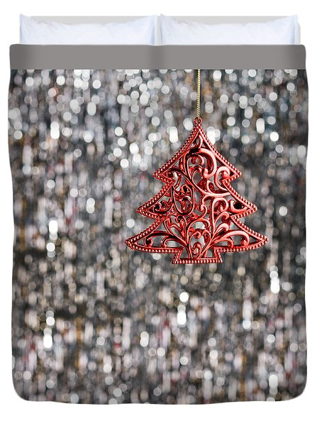 Duvet Cover featuring the photograph Red Christmas Tree by Ulrich Schade