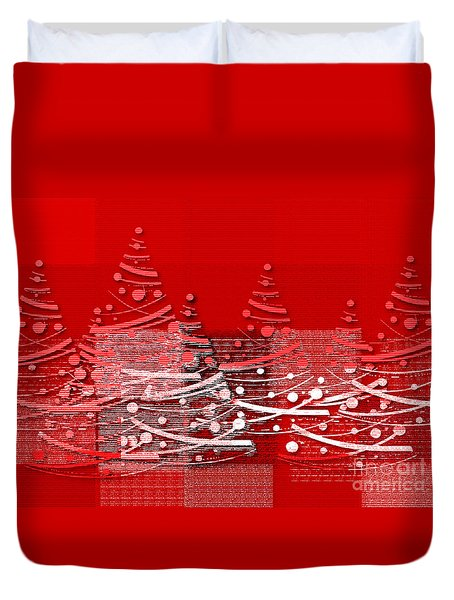 Red Christmas Trees Duvet Cover by Aimelle