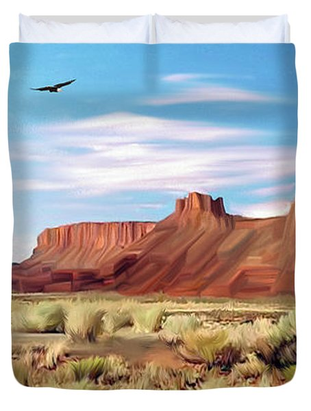 Red Cliff Eagle Duvet Cover by Walter Colvin
