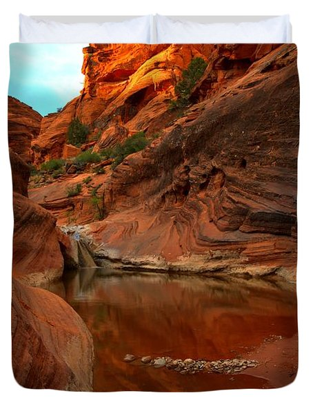Red Cliffs Reflections Duvet Cover