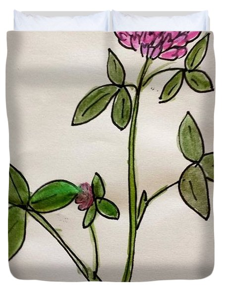 Duvet Cover featuring the painting Red Clover Blossom by Margaret Welsh Willowsilk