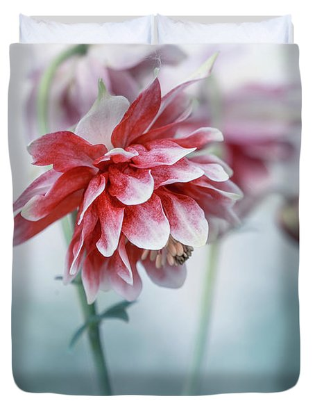Red Columbines Duvet Cover