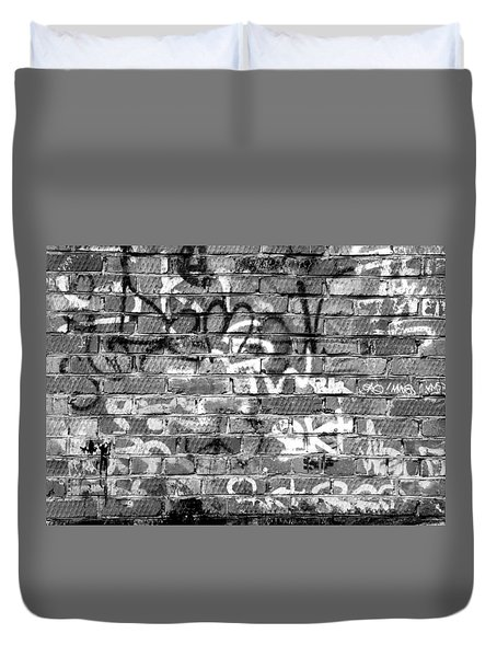Red Construction Brick Wall And Spray Can Art Signatures Duvet Cover