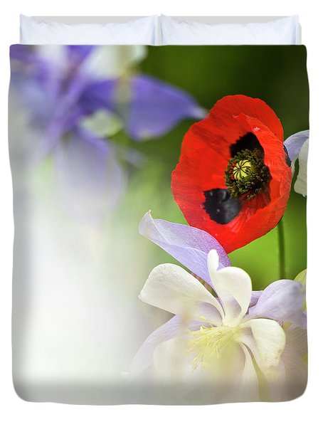 Red Corn Poppy Duvet Cover by Heiko Koehrer-Wagner