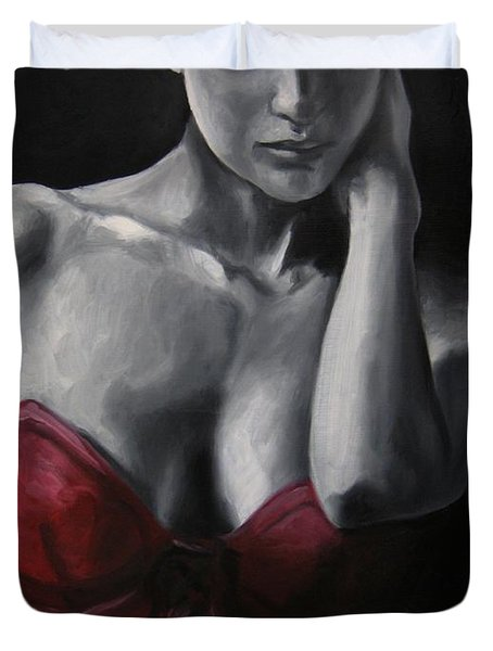 Duvet Cover featuring the painting Red Corset Nr.4 by Jindra Noewi